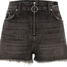 River Island - Black zip front high waisted denim shorts - £35.00
