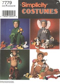Price: $5.00  Simplicity Pattern 7779 - Child's Costumes    Child's Costumes.    Copyright 1997.    Size: 3-4-5-6-7-8    Pattern is uncut and in the factory folds.