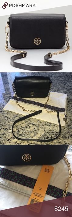 Tory Burch Robinson Chain Crossbody black Tory Burch Robinson chain Crossbody Black Saffiano leather . This is a gorgeous, classic Tory Burch bag. Beautiful and timeless. This bag is new without attached tags. Comes with dust bag. New condition! Tory Burch Bags Crossbody Bags