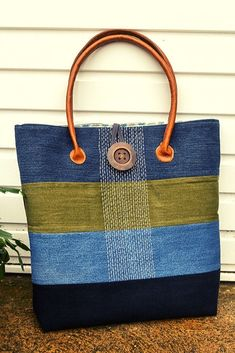 Denim Bag Patterns, Bag Patterns To Sew, Sewing Patterns, Bag Pattern Free, Tote Pattern, Wallet Pattern, Denim Tote Bags, Denim Purse, Jean Purses