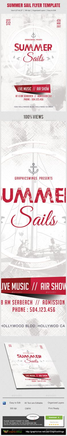 Summer Sail Flyer Template by GraphicsWings All you need to do is add your event related info. Ive made this file very easy for you to edit. This file is sold exclusively on Flyer And Poster Design, Flyer Design, Psd Flyer Templates, Event Flyers, Flyer Layout, Party Flyer, Holidays And Events, Sailing, Messages