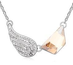 Sojewe Women Angel Wing Necklace Coffee Swarovski Elements Crystal on Pendant White Gold Plated Fashion Accessories Gift for Wife Girlfriend >>> Click image to review more details.