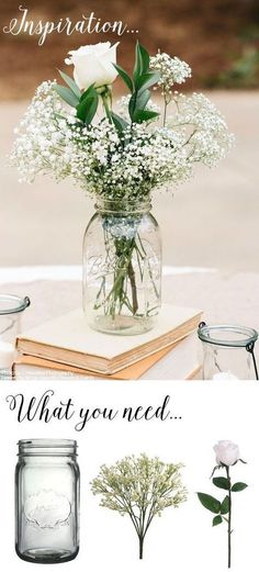 Wedding Ideas: 45 Breathtaking Ideas for Your Big Day You can make this simple DIY vintage rustic centerpiece with mason jars, baby's .You can make this simple DIY vintage rustic centerpiece with mason jars, baby's . Mason Jar Centerpieces, Rustic Wedding Centerpieces, Diy Wedding Decorations, Centerpiece Ideas, Vintage Centerpieces, Centerpiece Flowers, Diy Flowers, Blue Flowers, Rustic Table Decorations