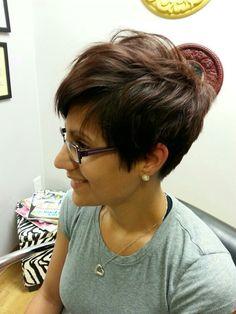Pixie haircut w long bangs