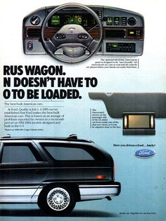 1986 Ford Taurus Wagon Page 2 USA Original Magazine Advertisement Retro Cars, Vintage Cars, Best Build, Car Advertising, Car Ford, Ford Motor Company, Station Wagon, Old Cars, North America