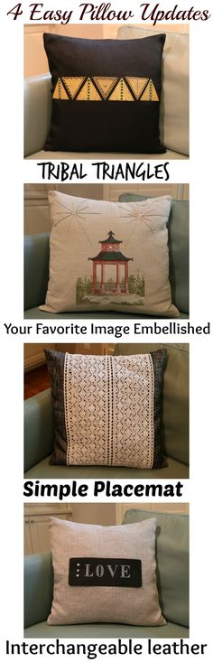 4 Easy Pillow Tutorial to transform a room, great for bedroom or living room. Great DIY idea #Crafts #Decor #HomeandFamilyDIYStar
