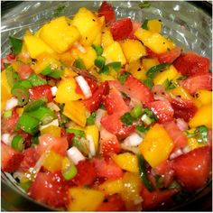 Summer salad- chop up Mango, Strawberries, Tomato, fresh Cilantro. Use it as salsa, top you fav burrito etc