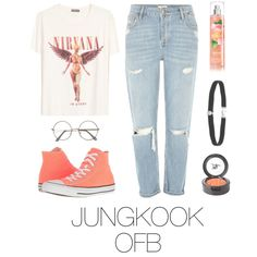 Picnic with BTS by mazera-kor on Polyvore featuring mode, H&M, River Island, Converse, Amanda Rose Collection, Beauty Is Life, outfit, picnic, bts and jungkook