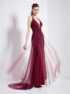 Off shoulder deep v-neck tulle lace burgundy Cocktail Dresses MPCD0045  Vestiti Formali 97d0f8386c8