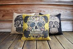 Set of 3 Sugar Skull Pillows, Throw Pillow, Halloween Decoration, Day of the Dead, Día de los Muertos, by TheWatsonShop on Etsy https://www.etsy.com/listing/112444574/set-of-3-sugar-skull-pillows-throw