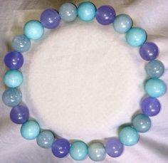 Aquamarin Amazonit Amethyst Heilstein Perlen Armband