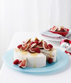 Australian Gourmet Traveller recipe for iced honey mascarpone and almond cake with fig salad Savoury Dishes, Savoury Cake, Mascarpone Cake, Fig Salad, Fig Recipes, Icebox Cake, Almond Cakes, Clean Eating Snacks, Healthy Eating