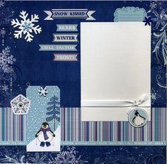 Snow Kissed  Premade Winter Scrapbook Page by SusansScrapbookShack, $15.95