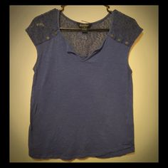 Cute detailed shirt  Shirt with soft mesh shoulders and button details. Cute by itself or with a jacket! Lucky Brand Tops
