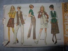 Vintage Simplicity Patterns 8955  Button Skirt Pants Vest 1970 by CoalBankHollowDesign on Etsy
