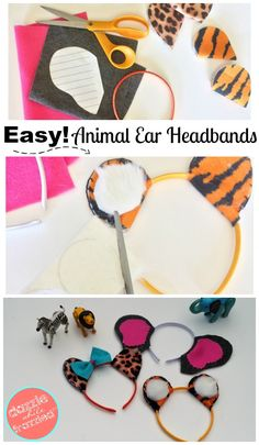 DIY+animal+ear+headbands+using+craft+felt,+embroidery+thread+and+hot+glue.+Easy+Halloween+animal+headbands.+Zoo+activities+for+kids.+via+@https://www.pinterest.com/dazzlefrazzled/