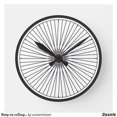 Shop Keep on rolling. Bike wheel clock created by univercitizen. Bike Wheel, Keep On, Clock, Display, Artwork, Prints, Clocks, Bicycle Wheel, Watch