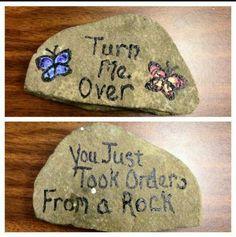 "((change ""rock"" to ""chunk of wood"" or ""log""))"