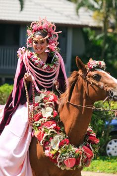 """""""Pau"""" riders. A floral parade tradition dating back to the Hawaiian Kingdom."""