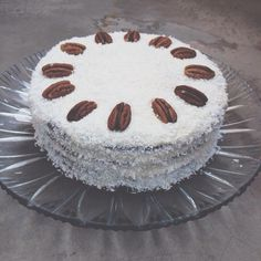 Carrot and coconut cake with pecans