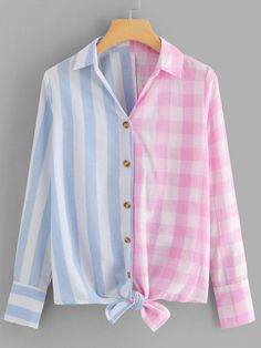 Casual Button and Knot Striped and Gingham Shirt Regular Fit Collar Long Sleeve Placket Multicolor Regular Length Single Breasted Knot Hem Striped Plaid Blouse Diy Clothes, Clothes For Women, Gingham Shirt, Spring Shirts, Blouse Designs, Types Of Shirts, Shirt Blouses, Casual Dresses, Fashion Outfits