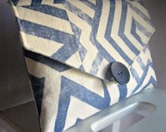 SUMMER SALE Blue White Geometric Chevron Clutch Bag Handmade by iDesign For You