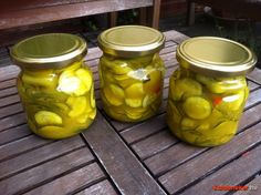 cukkini savanyúság Canning Recipes, Cake Cookies, Preserves, Pickles, Cucumber, Zucchini, Mason Jars, Appetizers, Food And Drink