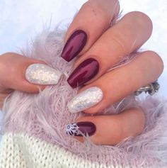 The Cutest and Festive Christmas Nail Designs for Celebration : Shimmer Sexy Ber. - - The Cutest and Festive Christmas Nail Designs for Celebration : Shimmer Sexy Berry Christmas Nails with Accent Snowflake Nail! Christmas Gel Nails, Christmas Nail Art Designs, Holiday Nails, Christmas Christmas, Christmas Crafts, Jamberry Christmas, Xmas Nail Art, Christmas Makeup Look, Winter Nail Designs