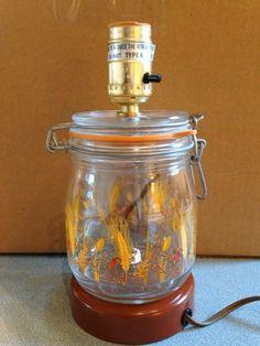 vintage canning jar lamp- works!