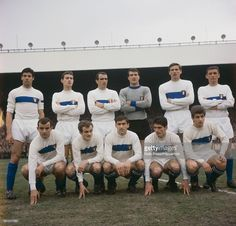 The Italian national football team line up before their international fixture with France at Parc Des Princes stadium in Paris, France on 19th March 1966. Top row from left to right: Sandro Salvadore, Roberto Rosato, Giovan Battista Pirovano, Enrico Albertosi, Giacinto Facchetti and Luigi Riva. Front row from left to right: Mario Corso, Sandro Mazzola, Tarcisio Burgnich, Angela Domenghini and Gianni Rivera.
