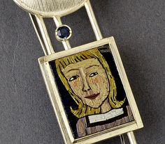 Polymer clay micromosaic brooch (detail) by Cynthia Toops; metalwork by Chuck Domitrovich.