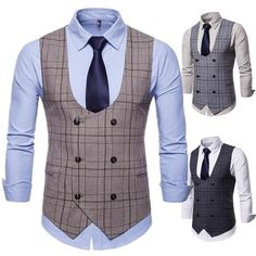 Plaid U Neck Double Breasted Suit Vest Waistcoat Material: Cotton,Polyester Style: Fashion Shirt Length: Regular Collar: U Neck Thickness: Thin Mens Suit Vest, Men's Waistcoat, Mens Designer Shirts, Designer Suits For Men, Indian Men Fashion, Mens Fashion Suits, Men's Fashion, Double Breasted Waistcoat, African Shirts For Men