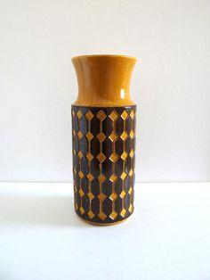 Vase ou porte-parapluie vintage jaune moutarde Jasba Germany