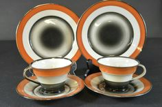 Cups and plates by Nora Gulbrandsen, Porsgrund Porselen, Kitchenware, Tableware, Machine Age, Cup And Saucer, Dinnerware, Tea Cups, Art Deco, Pottery, Plates