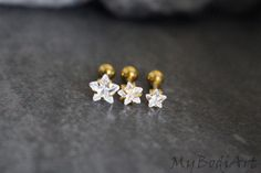 Golden Crystal Star Stud