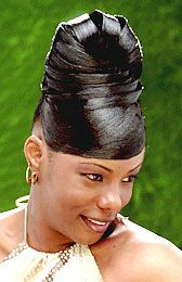 Elegant Updo Hairstyle from Katresha Cartwright - Black Hairstyles from America's Top Hair Salons - UniversalSalons. Black Hair Updo Hairstyles, Roll Hairstyle, Casual Hairstyles, Black Girls Hairstyles, Latest Hairstyles, Braided Hairstyles, Professional Hairstyles, Ponytail Styles, Short Hair Styles