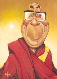 Dalai Lama - www.remix-numerisation.fr - Rendez vos souvenirs durables ! - Sauvegarde - Transfert - Copie - Digitalisation - Restauration de bande magnétique Audio - MiniDisc - Cassette Audio et Cassette VHS - VHSC - SVHSC - Video8 - Hi8 - Digital8 - MiniDv - Laserdisc Cartoon Faces, Funny Faces, Cartoon Characters, Caricature Artist, Caricature Drawing, Funny Caricatures, Celebrity Caricatures, Famous Cartoons, Funny Cartoons