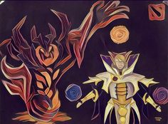 The characters Shadow fiend and Invoker from DOTA 2, from the left. Custom Shadow fiend with Arms of Desolation. Made with blended oil pastels on a black sheet.