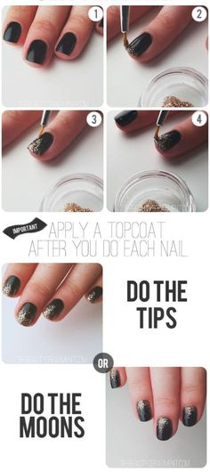 Nail Tutorial: How to get a good glitter fade. Ive always wondered the secret & now I know. :) {DIY NAIL ART DESIGNS} black gold glitter NailTutorial NailArt Link - 28 Nail Tutorials Best Ideas For This Summer Glitter Fade Nails, Faded Nails, Gold Nails, Loose Glitter, Glitter Art, Sparkly Nails, Marble Nails, How To Paint Glitter Nails, Glitter Uggs
