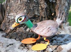 Duck Golf Club Metal Sculpture Hand Painted Yard Art Garden Art Found Objects