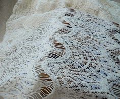Lace Fabric Beige Eyelash Stretchy Soft Lace by miraculousfabric, $8.99