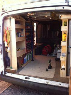 Billedresultat for van shelving fitout Trailer Shelving, Van Shelving, Trailer Storage, Truck Storage, Work Trailer, Utility Trailer, Van Storage, Storage Shelves, Storage Drawers