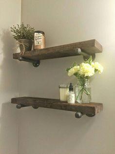 Rustic wood shelves || reclaimed wood shelf || bathroom shelf || industrial chic shelves || custom wood furniture