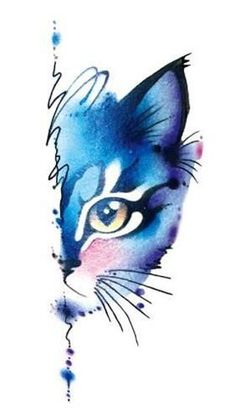 Waterproof Temporary Fake Tattoo Stickers Watercolor Blue Cat Sexy Design Body A. - Waterproof Temporary Fake Tattoo Stickers Watercolor Blue Cat Sexy Design Body Art Make Up Tools. Watercolor Cat, Watercolor Animals, Watercolor Illustration, Watercolor Paintings, Tattoo Watercolor, Simple Watercolor, Watercolor Techniques, Watercolor Flowers, Watercolor Background