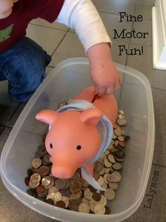 This piggy bank sensory bin for kids from LalyMom uses real money! Kids love to play with money. So give this sensory filler a try. Coins make the perfect sensory bin activity. Motor Skills Activities, Sensory Activities, Fine Motor Skills, Toddler Activities, Toddler Learning, Therapy Activities, Early Learning, Learning Activities, Sensory Tubs