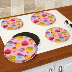 Cupcake stove eye covers-- I need some of these sooo much!
