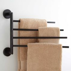Colvin Quadruple Swing Arm Towel Bar With 4 swinging arms, this towel rack adds more storage to your bathroom without sacrificing much-p Towel Holder Bathroom, Bathroom Towels, Towel Holders, Bath Towel Racks, Bathroom Towel Storage, Bathroom Wall, Bath Towels, Bathroom Organization, Kitchen Towel Rack