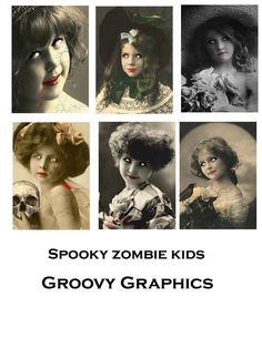 This zombie children digital collage sheet is just what you need for those unique Halloween crafts. These printable Halloween images are just the right size for your ATC or ACEO crafts, or even as a fun jewelry holder.