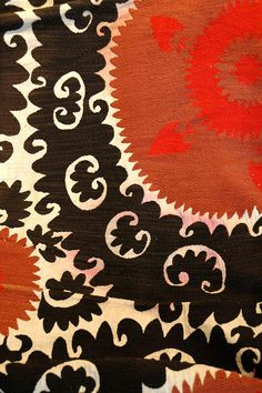 Samarkand Suzani CTP2007 with 6 Roundel, detail dye run | Flickr - Photo Sharing!