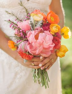peony, ranunculus and poppy bouquet